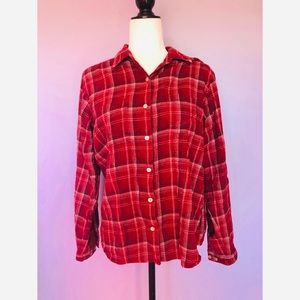 Woolrich red plaid button down flannel shirt